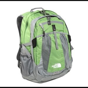 The North Face recon green and gray backpack